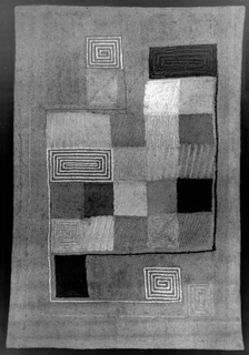 """Hooked rug made as a companion piece to Karasz's """"Composition in Squares"""" (1964-24-36). Design shows repeating squares of color."""