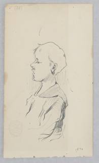 Half-length profile sketch of a young male figure.