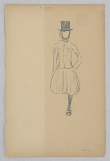 Sketch of a figure wearing a top hat and pantaloons.
