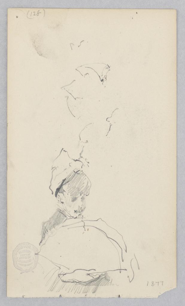 Sketch of a female figure holding an open fan.