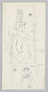 Recto: Sketch of a street scene in Venice; Verso: Sketch of playing cards.