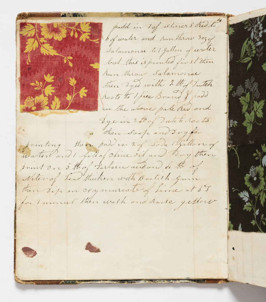 Record book of dye recipes kept by the textile printer Edmund Barnes that was started in Bury, England in the late 1820s. The printer brought the book with him to Dover, New Hampshire in 1829 when he began working for Dover Manufacturing Company, later known as Cocheco Print Works. Barnes continued to add to the notebook through the early 1830s.