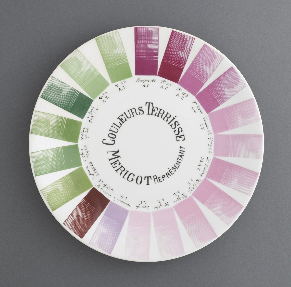 Earth related tones of grey-green and magenta popular in the 1880's in France.