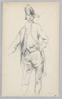 Full-length figure of a man standing in 17th-century costume, with long waistcoat, short pants, hat. Diagonal line through drawing.