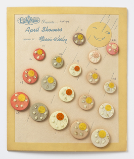"""Eighteen buttons on a sheet with a smiling and winking sun. The buttons are in various colors; each has a sun with a smile and beads in raindrop shape. Buttons are placed in form of raindrops progressively getting larger below. Board titled in blue: """"La Mode Presents… / April Showers / DESIGNED BY Marion Weeber""""."""