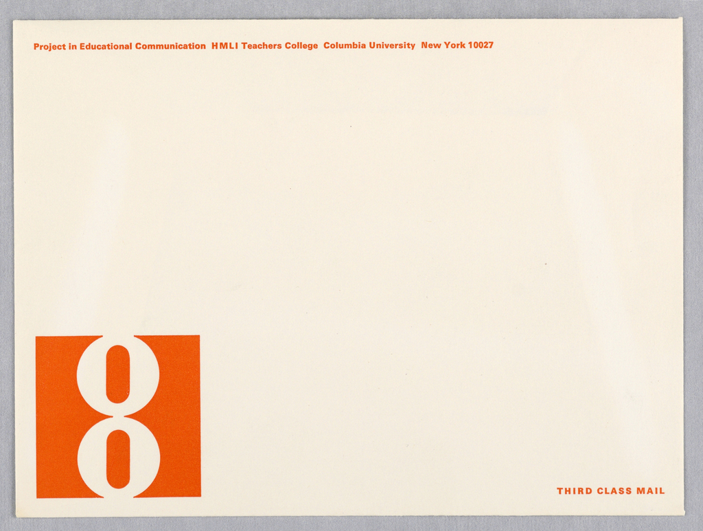 """Horizontal format white envelope. At lower left, the logo of an """"8"""" in white within an orange square. Printed text in orange at upper left and lower right."""