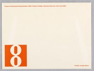 "Horizontal format white envelope. At lower left, the logo of an ""8"" in white within an orange square. Printed text in orange at upper left and lower right."