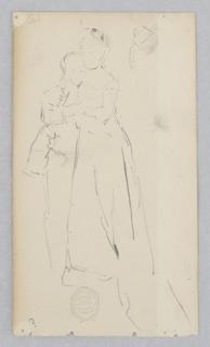 Sketch of a male figure embracing a female figure.