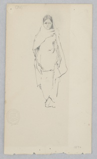 Female figure draped in fabric with her head covered.
