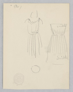 Sketch of a costume fitted for a female figure.