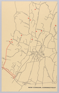 Vertical format map of New Canaan, Connecticut. Black lines indicate streets with some identified by name in printed black tex. Red lines identify the route to houses by Philip Johnson, eleven of which are identified by small red squares.