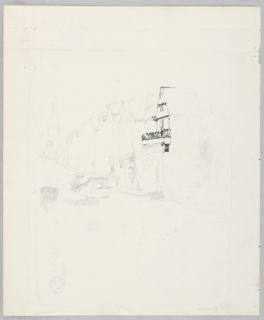 Sketch of buildings and boats along a canal.