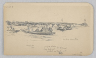 Recto: Sketch of a bridge with boats in the foreground; Verso: Sektch of a female figure.
