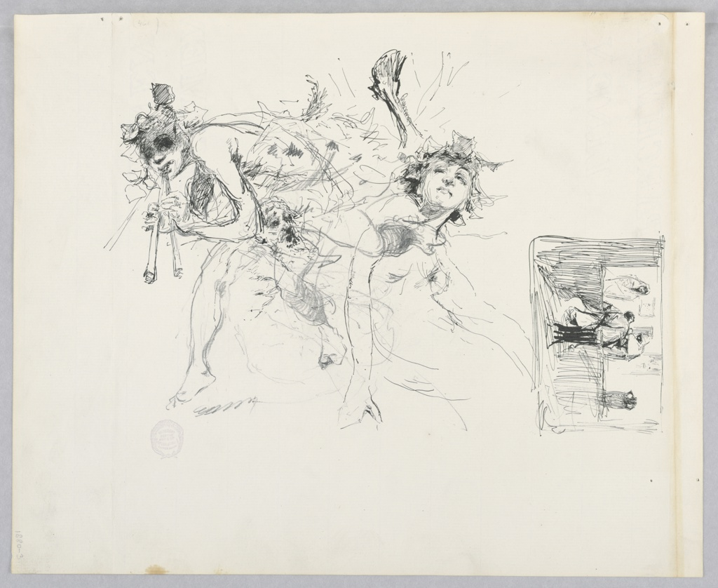 Center, Sketch of figures dancing with musical instruments; Right, Sketch of three figures.