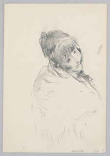Recto: Sketch of a female figure wearing a shawl and looking over her right shoulder; Verso: Partial sketch of a female figure.