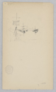 Sketch of a harbor with anchored ships.