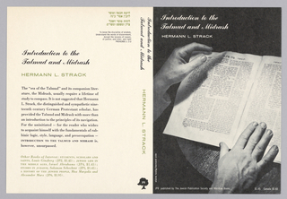 "Cover design for ""Introduction to the Talmud and Midrash,"" by Hermann L. Strack. Front cover features black and white photoillustration, two hands grasping a copy of the Talmud in printed Hebrew; white text at top. Spine and back cover have white ground with printed black and green text."