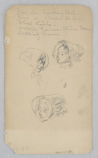 Recto: Partial sketches of a female figure wearing a bonnet; Verso: Sketches of figures.