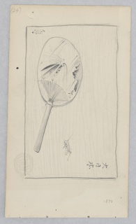 Center, Sketch of a Japanese fan; Below, sketch of a grasshopper and Japanese characters.