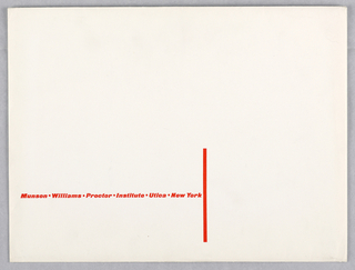 Horizontal rectangle format white envelope. A red vertical line at bottom center, printed text with museum name and location at lower left.