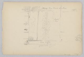 Recto: Sketch of a screen with Japanese characters; Verso: Sketch of an interior courtyard.