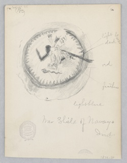 Sketch of a circular shield with symbols.