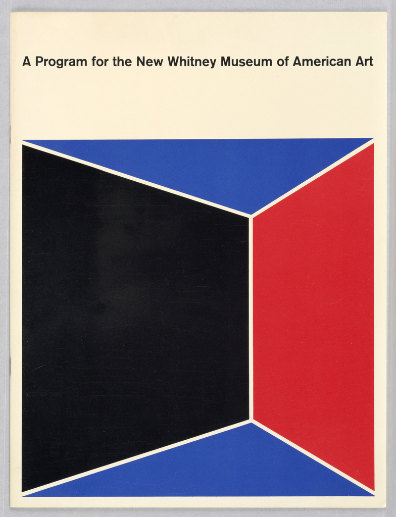 Booklet for the Whitney Museum of American Art. Both front and back covers have a design of a cube broken down into sections of black, red and two sections of blue. Inside is a description of the museum and its floor plan, images and text throughout.
