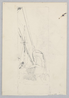 Recto: Sketch of a lifeboat attached to a large ship; Verso: Sketch of a village scene with a house, donkey, and male figure.