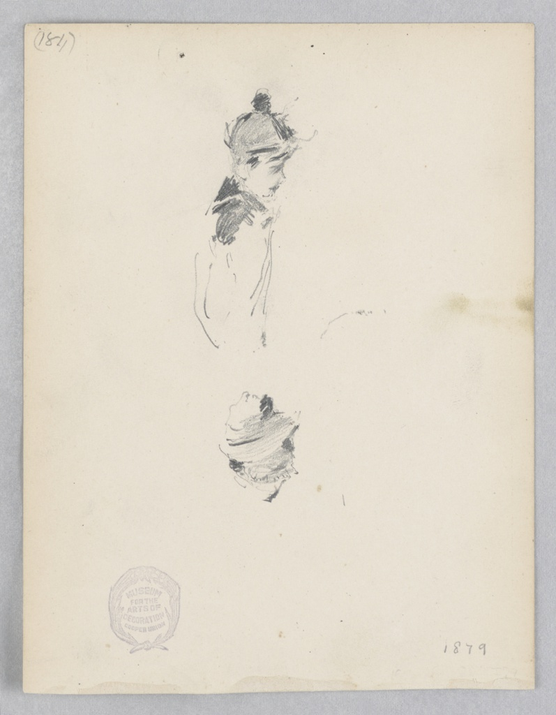 Sketch of a young male figure wearing a hat.