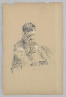 Sketch of a male figure.