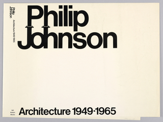"Cover design for ""Philip Johnson: Architecture 1949-1965,"" by Henry-Russell Hitchcock and Philip Johnson. White ground with printed black text at top and bottom of front cover, the ""J"" and ""h"" in ""Johnson"" with details at top of each letter."