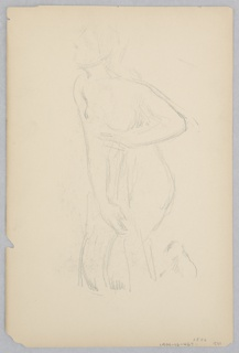Recto: Sketch of a female figure kneeling; Verso: Sketch of a woman wearing a kimono.