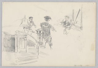 Recto: Sketch of three male figures wearing uniforms abroad a ship; Verso: Sketch of two horse-drawn carriages.