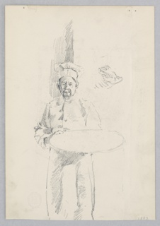 Sketch of a male figure holding a tray.