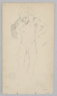 Sketch of make figure standing and wearing a turban.
