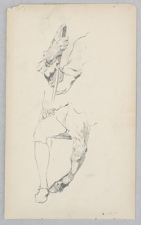 Sketch of a male figure dressed in a uniform, with long waistcoat, short pants.