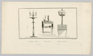 Print, Candlestick, Night Table, Desk, 18th century