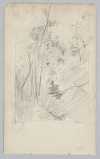Sketch of landscape with a steep hill and trees.