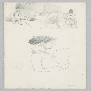 Sketch of a street scene; Above, Sketch of a donkey and two figures; Below, Sketch of a female figure in profile holding a fan.
