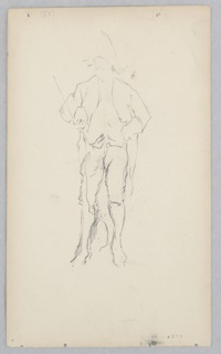 Sketch of a male figure dressed in a uniform, with long waistcoat, short pants, and hat.