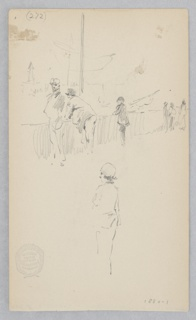 Sketch of six figures along a canal in Venice.