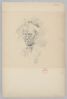 Bust length portrait of a Japanese man with cloth tied around his head.
