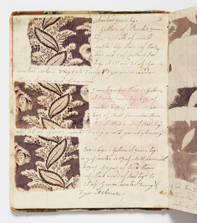 Record book of dye recipes kept by the textile printer Edmund Barnes that was started in Bury, England in the late 1820s. The printer brought the book with him to Dover, New Hampshire in 1829 when he began working for Dover Manufacturing Company, later known as Cocheco Print Works. Barnes continued to add to the notebook through the early 1830s.  The small book contains samples of printed cottons with handwritten dyestuff recipes, dyeing processes and finishing techniques. A small bill loose in back of book bears the name:  William Barnes. Book bound in marble paper sides and leather back.