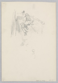 Recto: Sketch of a male figure bowling; Verso: Sketch of a dog.