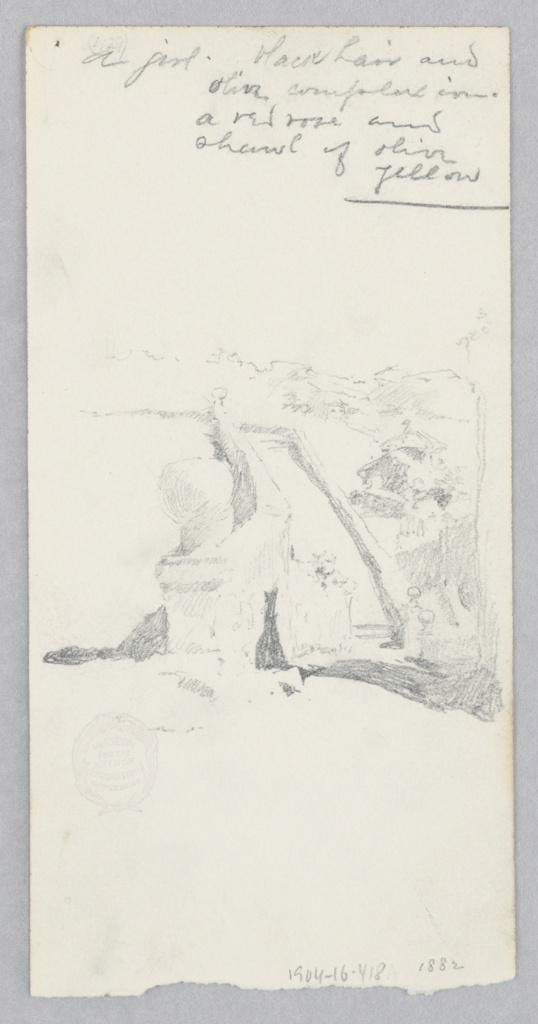 Recto: Sketch of a terrace garden; Verso: Sketch of a female figure.