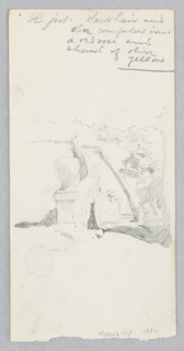 Recto: Sketch of a terrace garden; Verso: Sketch of a female figure.