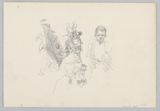 Recto: Partial sketch of a young male figure and a donkey; Verso: Sketch of an window with curtains.