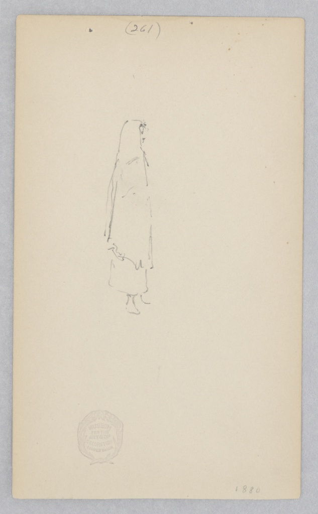 Partial sketch of a female woman wearing a shawl.