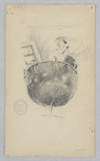 Head and shoulder of a male figure playing a kettle drum.