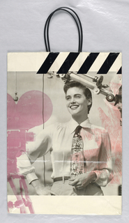 Recto: Large photograph of a young woman standing in front of a movie camera. Verso: Large photograph of a young couple embracing.